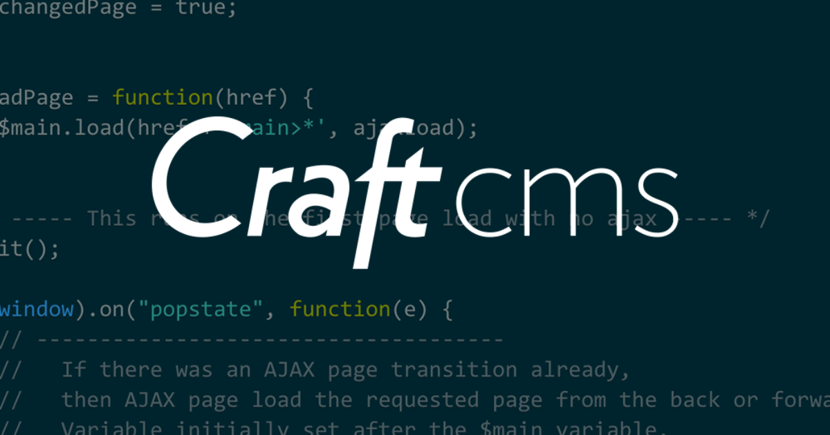Craft CMS AJAX Page Transitions with history pushState / Cosmic